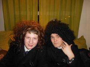 This is seriously the best picture I could find of us together. The wigs are funny, but very unflattering!!!